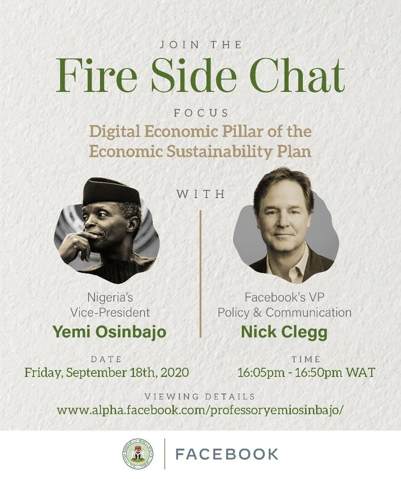 Osinbajo, Nick Clegg of Facebook To Hold Informal Chat Today