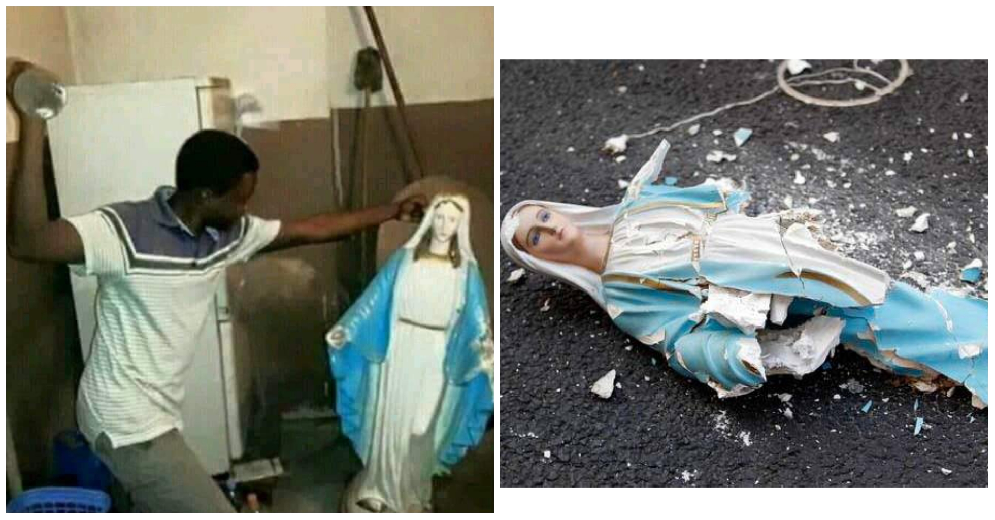 Angry Man Destroy Statues Of Virgin Mary, Calls Catholics idolaters (photos)