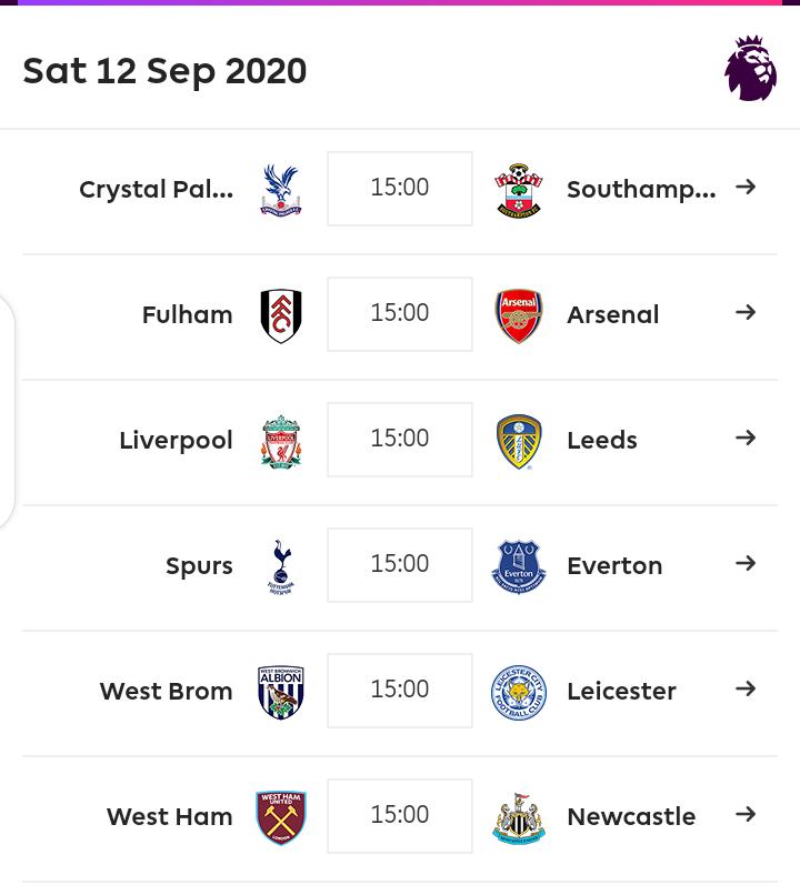 EPL Fixtures 2020