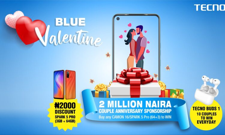 For every couple across the globe, Valentine is a time to take a refreshing trip through time to celebrate love. TECNO Blue valentine has been a tradition for Africa's most iconic brand for several years. It is a seasonal celebration designed to creating lasting memories for couples across Nigeria. This year, TECNO is not only celebrating the married couples but all engaged couples, courting couples, and all sorts of passionate relationships. TECNO remains a brand committed to making a difference in Nigeria, it's no wonder that love finds a special place at the core of TECNO's mission. To participate in the TECNO Blue Valentine, visit TECNO's social media pages [ Facebook, Twitter and Instagram], make a 1-miniute video with your partner stating how old your love journey is, your experiences, the things you admire in your partner, or post a picture of you and your partner and the details above in the caption using hashtag #TECNOBlueValentine. • Ensure your entry is genuine and verifiable. On Facebook, Post as a comment under the pinned activity post on TECNO official Facebook page, and get your friends to like and comment on it verifying your entry. • On Twitter and/or Instagram page, post your entry on your page using the hashtag #TECNOBlueValentine • Ensure you are following ALL of TECNO social media pages for your entry to be valid. • Ensure you get your friends to share, like and comment on your entry. • Every day from Feb 1st -14th February 2020, 10 couples will be selected across all social media pages to win the new TECNO Buds1. Offline-N2M Couple Anniversary Sponsorship TECNO will sponsor two couples love anniversary celebration worth 2 million Naira. All you need do to win, walk into any TECNO recommended retail stores nationwide; buy any Camon 16 series or Spark 5 Pro (3GB/64GB). You will receive a special TECNO Blue Valentine card, send the 10-digit code to the WhatsApp number – 09036438365 and you will receive a message authenticating your entry • Every 5