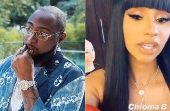Davido reacts as Cardi B gives herself Nigerian name 'Chioma B' (Video)