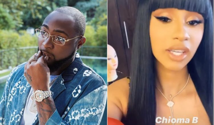 Davido reacts as Cardi B gives herself Nigerian name 'Chioma B' (Video)